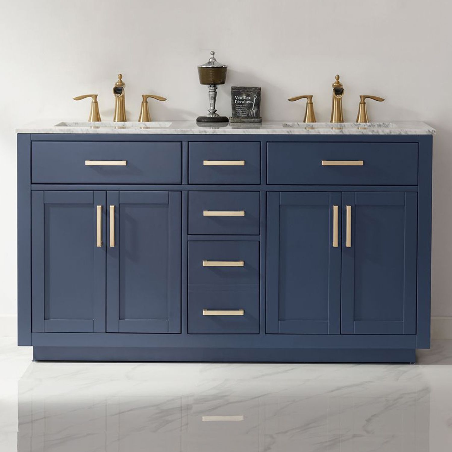 """Issac Edwards Collection 60"""" Double Bathroom Vanity Set in RoyalBlue and Carrara White Marble Countertop without Mirror"""