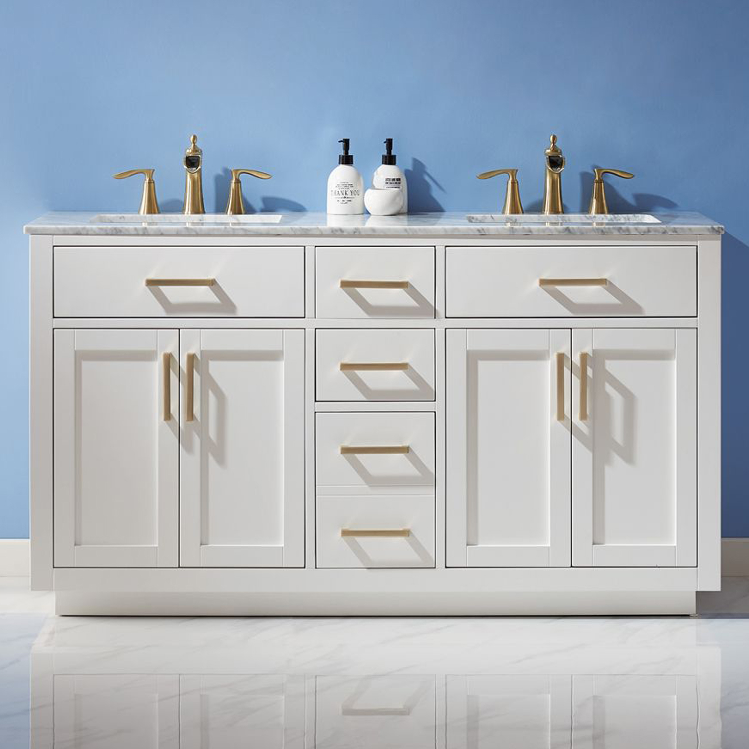"Issac Edwards Collection 60"" Double Bathroom Vanity Set in White and Carrara White Marble Countertop without Mirror"