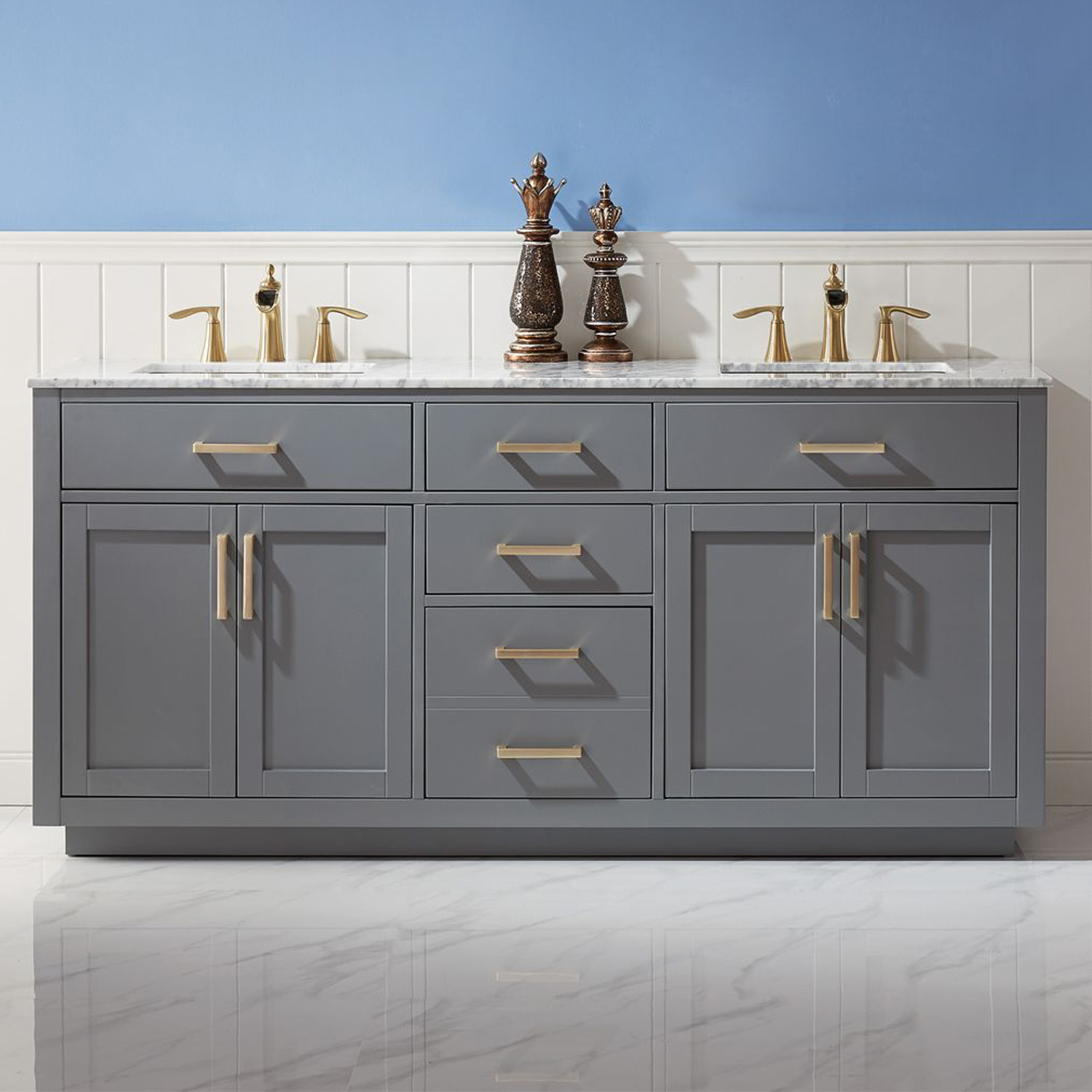 "Issac Edwards Collection 72"" Double Bathroom Vanity Set in Gray and Carrara White Marble Countertop without Mirror"