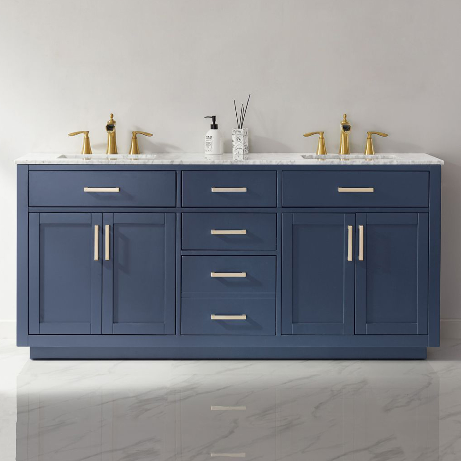 "Issac Edwards Collection 72"" Double Bathroom Vanity Set in Royal Blue and Carrara White Marble Countertop without Mirror"