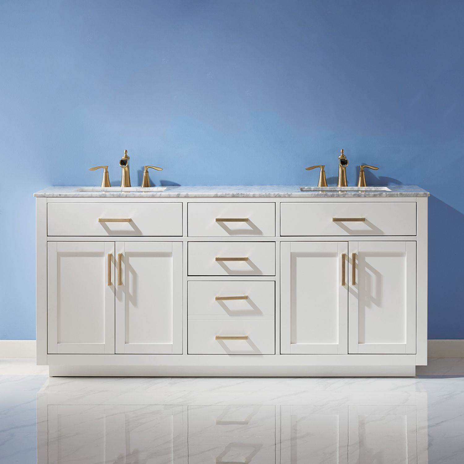 "Issac Edwards Collection 72"" Double Bathroom Vanity Set in White and Carrara White Marble Countertop without Mirror"
