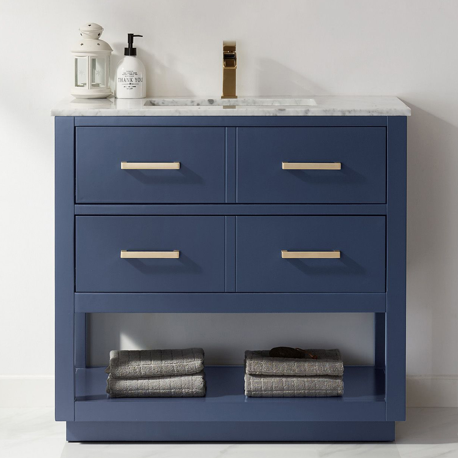 "Issac Edwards Collection 36"" Single Bathroom Vanity Set in Royal Blue and Carrara White Marble Countertop with Mirror Options"