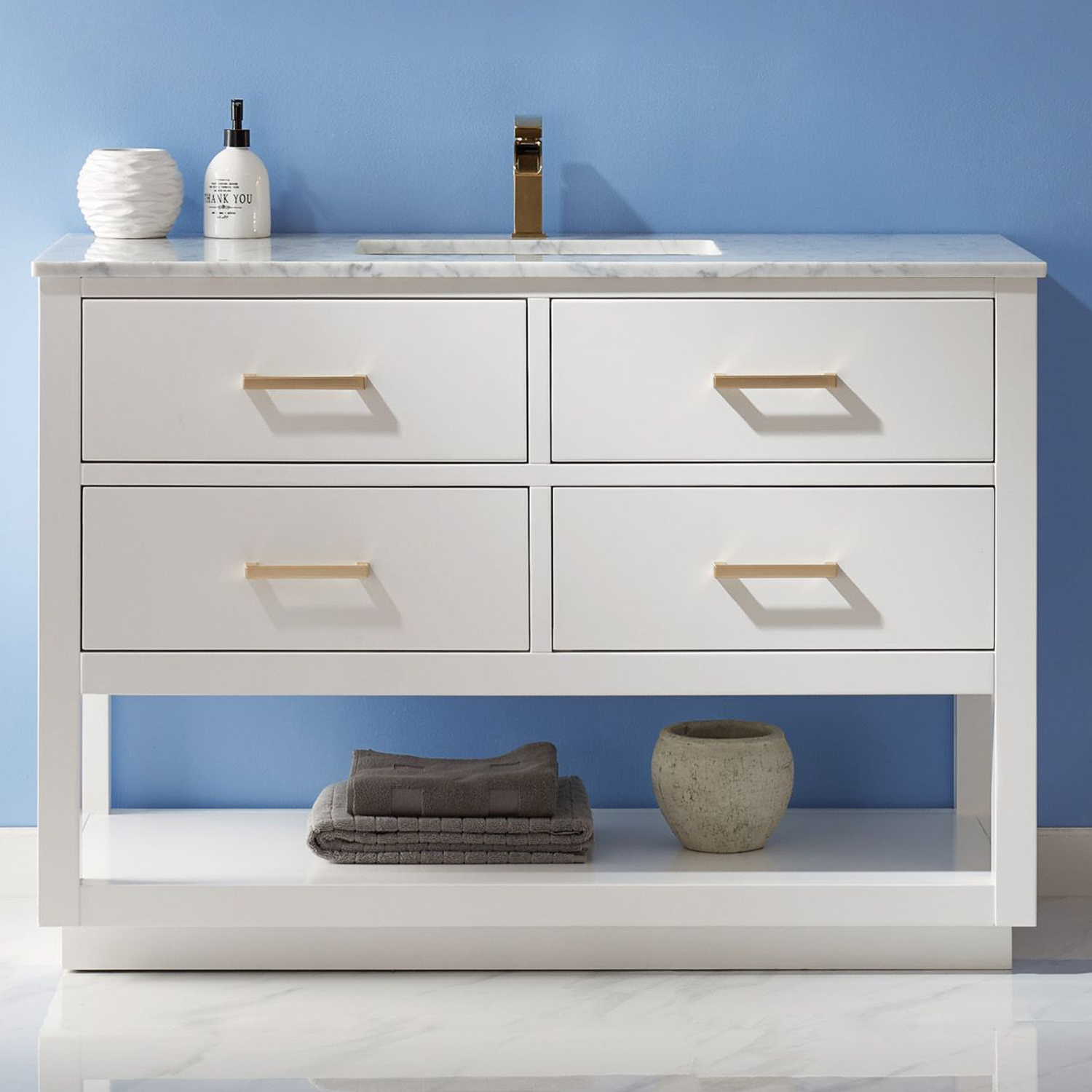 "Issac Edwards Collection 48"" Single Bathroom Vanity Set in White and Carrara White Marble Countertop with Mirror Option"