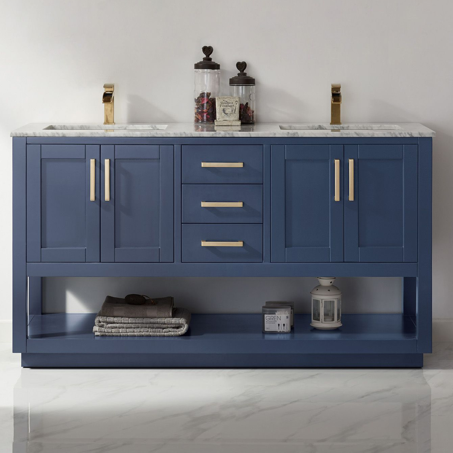 "Issac Edwards Collection 60"" Double Bathroom Vanity Set in Royal Blue and Carrara White Marble Countertop with Mirror Option"