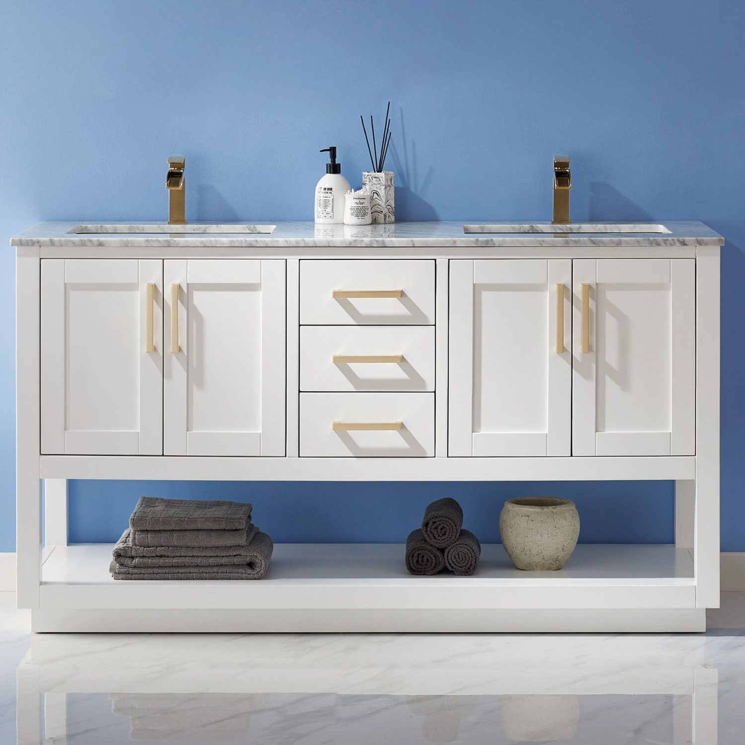 "Issac Edwards Collection 60"" Double Bathroom Vanity Set in White and Carrara White Marble Countertop with Mirror Option"