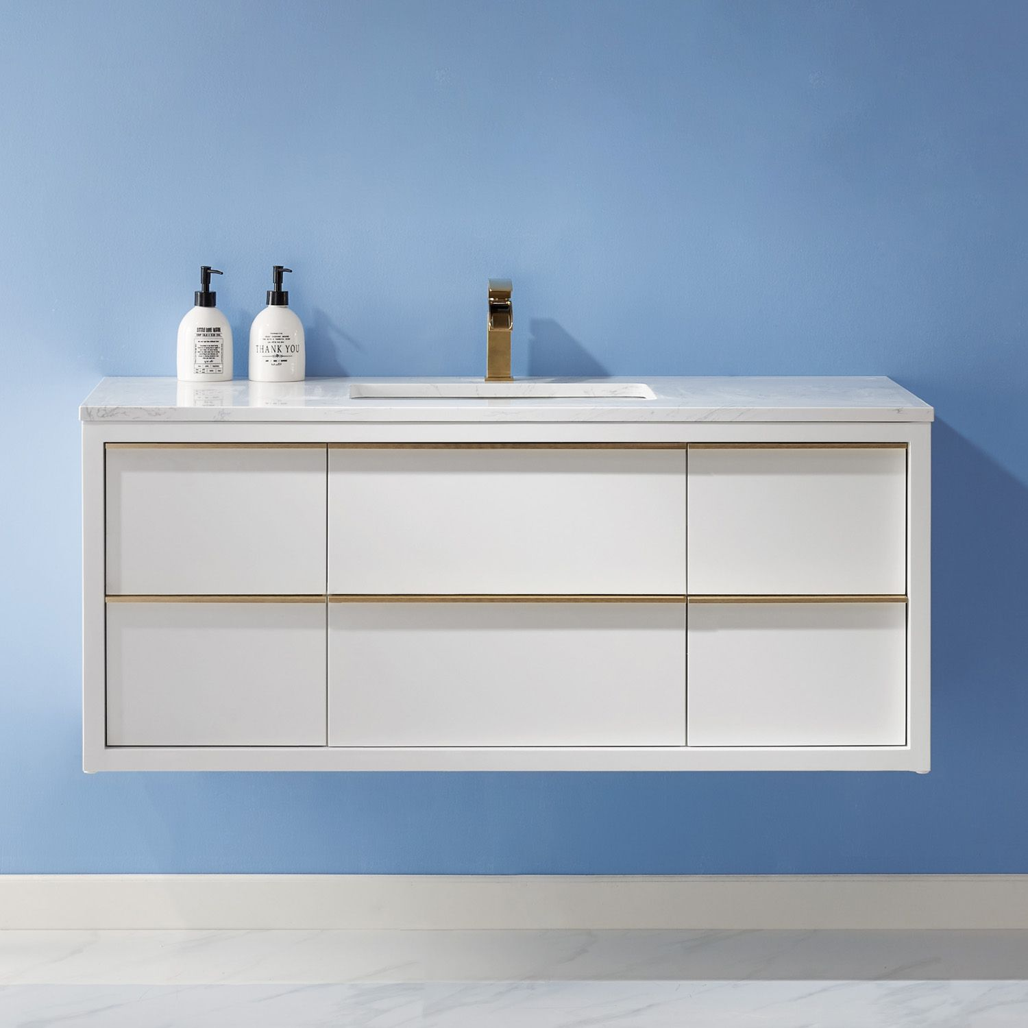 "Issac Edwards Collection 48"" Single Bathroom Vanity Set in White and Composite Carrara White Stone Countertop without Mirror"