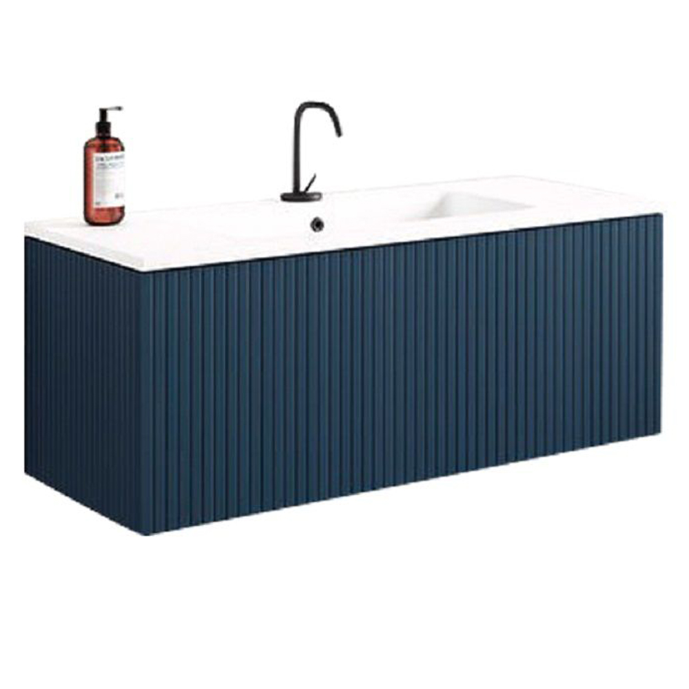 "24"" Royal Blue Finish Wall Mount Bath Vanity with Linen Cabinet Option Made in Spain"