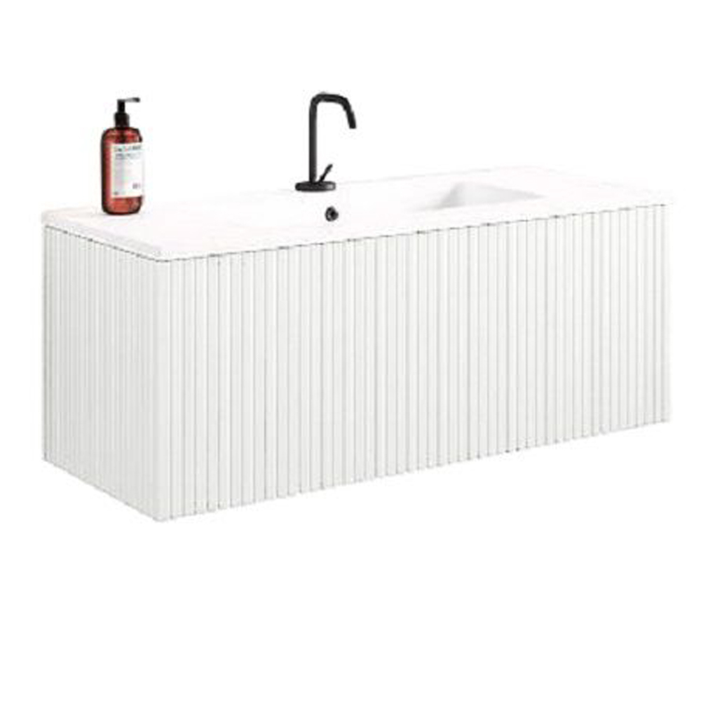 "40"" Bright White Finish Wall Mount Bath Vanity with Linen Cabinet Option Made in Spain"