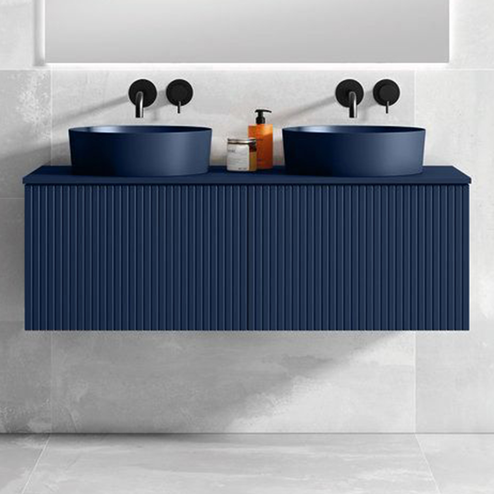 "48"" Royal Blue Wall Mount Bath Vanity with Linen Cabinet Option Made in Spain"