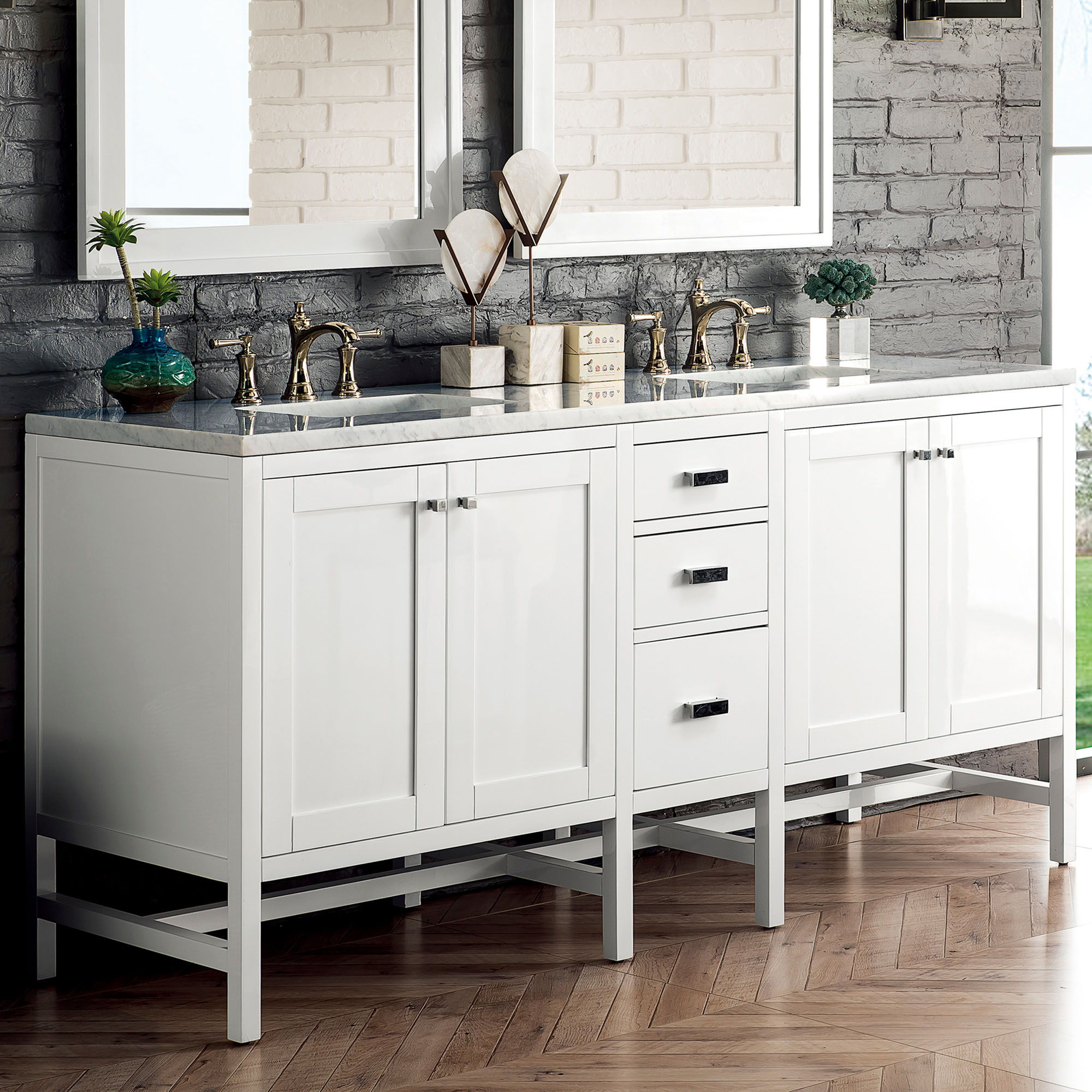 """James Martin Addison Collection 72"""" Double Vanity Cabinet, Glossy White Finish"""