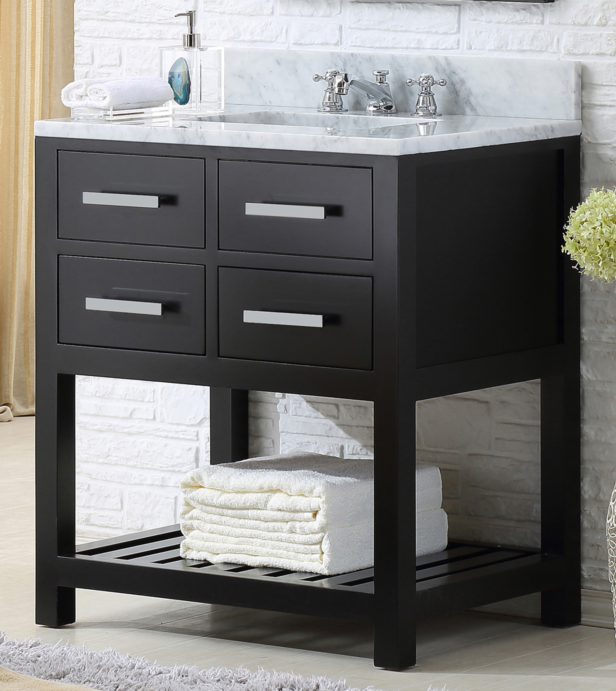 "30"" Espresso Single Sink Bathroom Vanity"