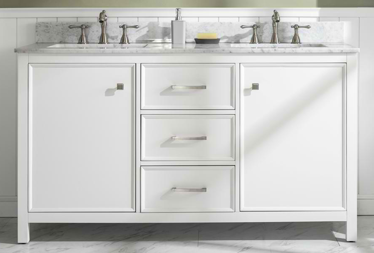 "60"" White Finish Double Sink Vanity Cabinet with Carrara White Top"