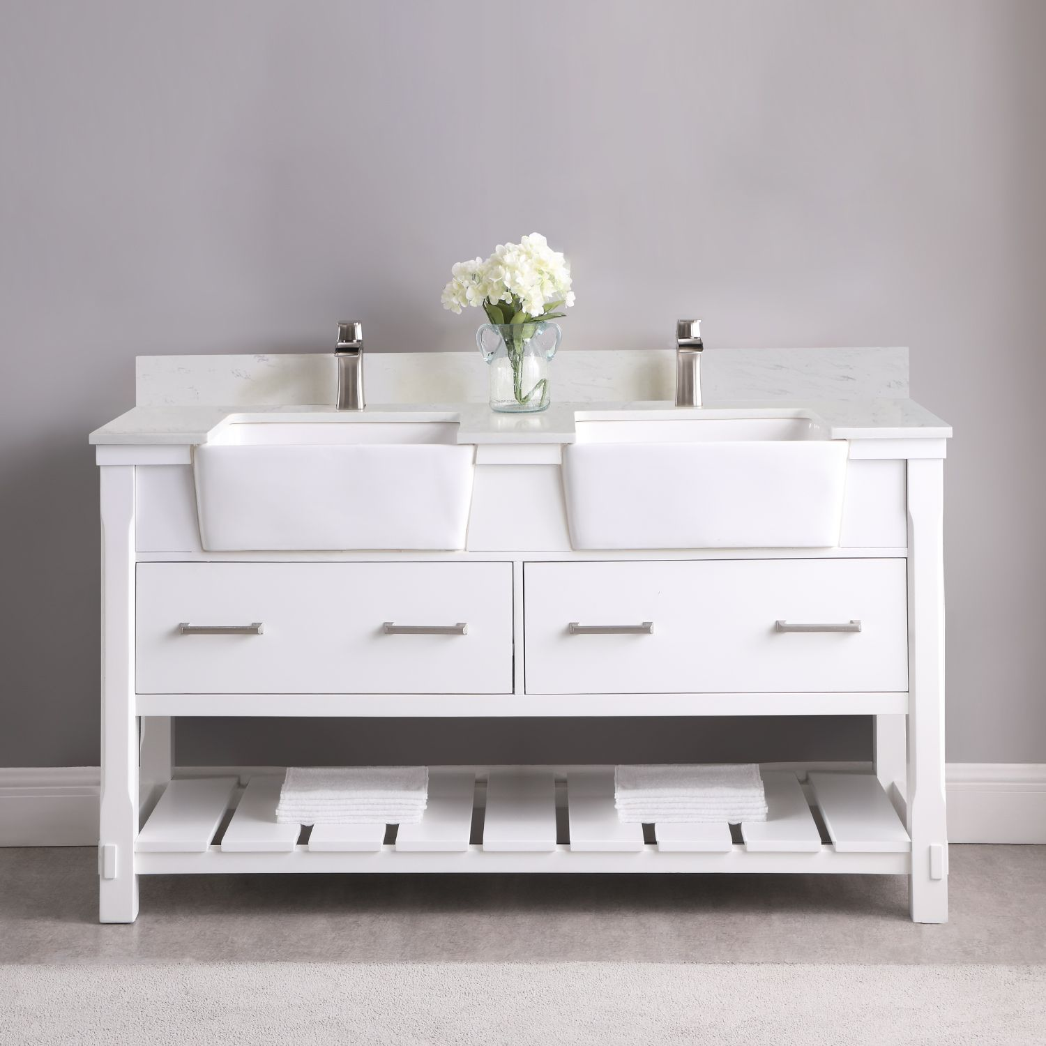"Issac Edwards Collection 60"" Double Bathroom Vanity Set in White and Composite Carrara White Stone Top with White Farmhouse Basin without Mirror"