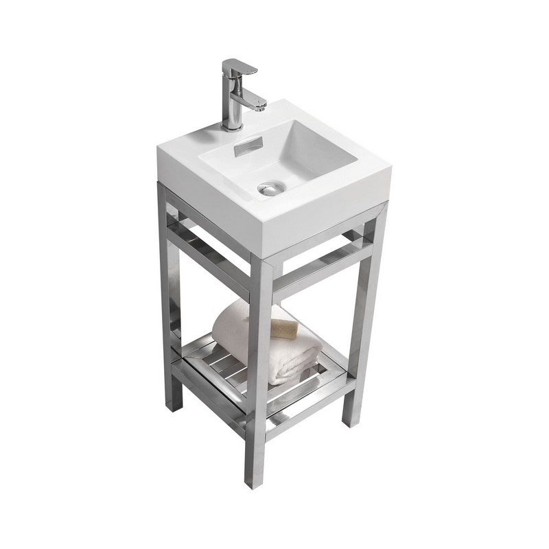 "Modern Lux 16"" Stainless Steel Console with Acrylic Sink - Chrome"