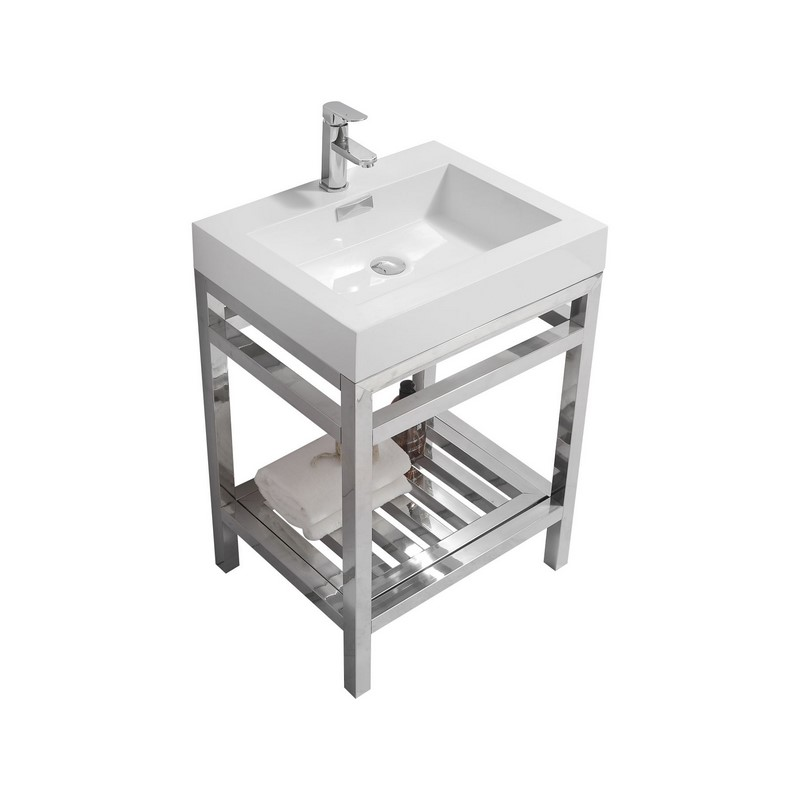 "Modern Lux 24"" Stainless Steel Console with Acrylic Sink - Chrome"