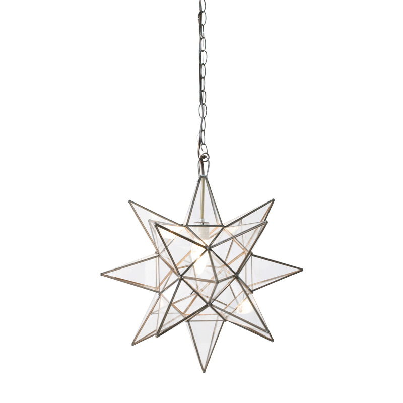 Clear Star Chandelier with Size Option