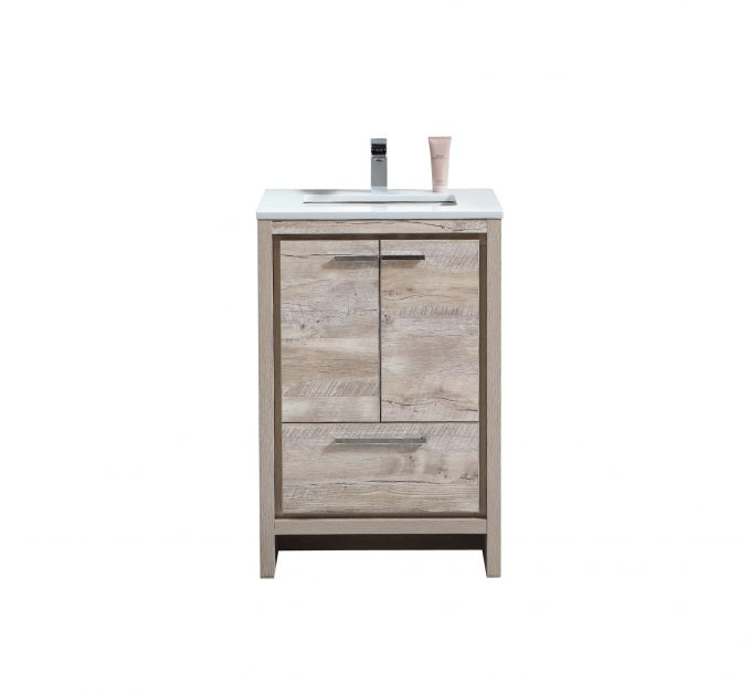 "Modern Lux 24"" Nature Wood Modern Bathroom Vanity with White Quartz Counter-Top"