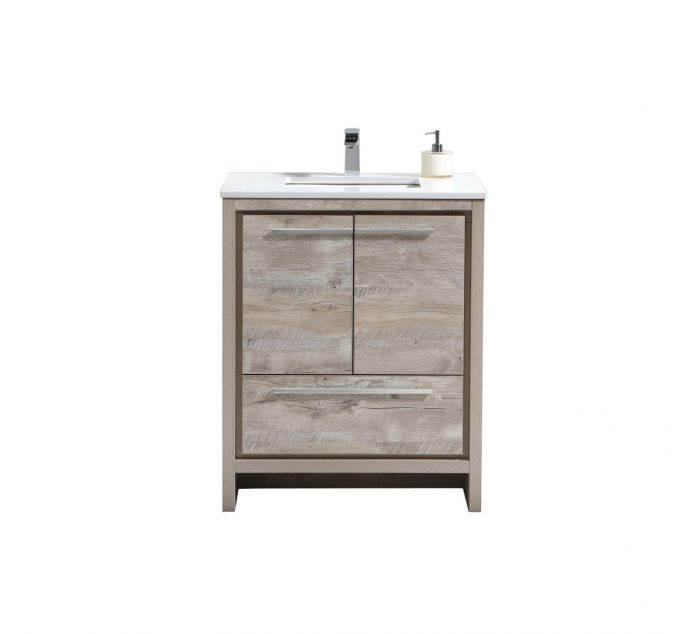"Modern Lux 30"" Nature Wood Modern Bathroom Vanity with White Quartz Counter-Top"