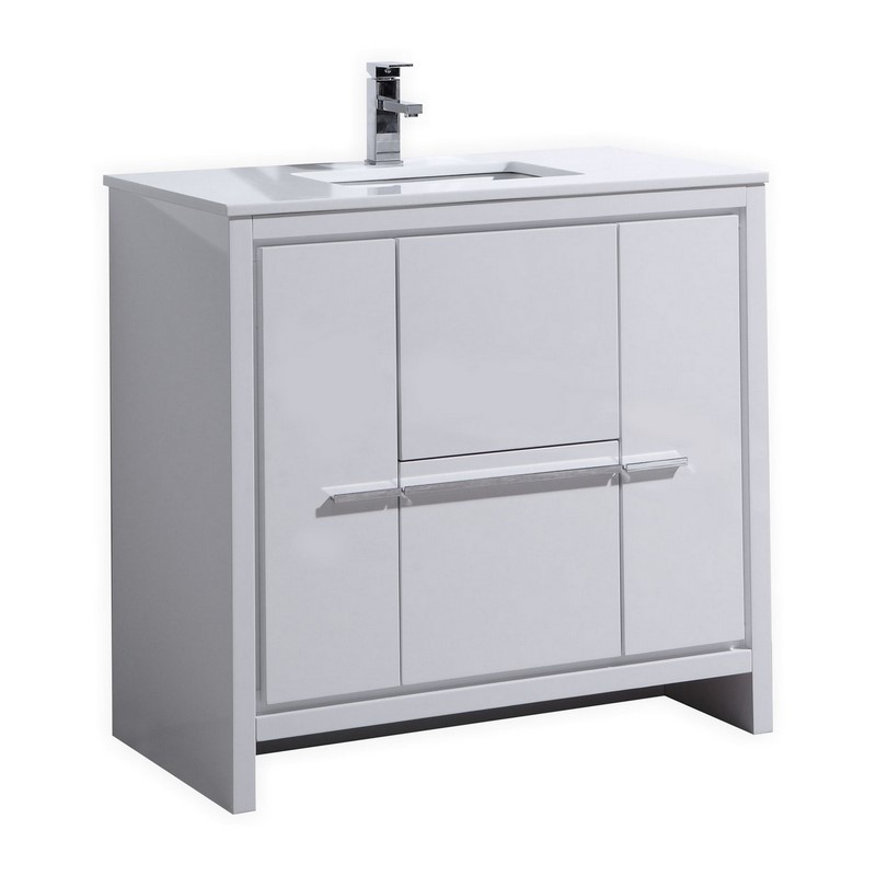 "Modern Lux 36"" High Gloss White Modern Bathroom Vanity with White Quartz Counter-Top"