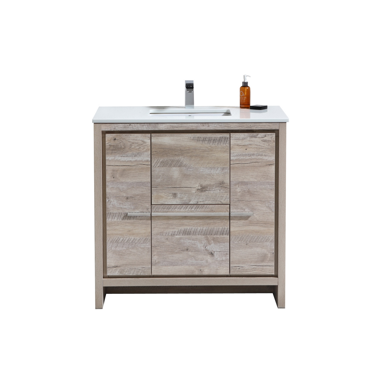 "Modern Lux 36"" Nature Wood Modern Bathroom Vanity with White Quartz Counter-Top"