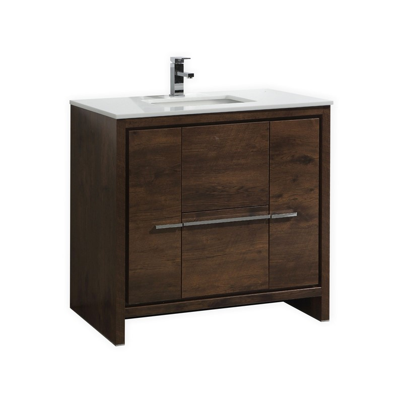 "Modern Lux 36"" Rose Wood  Modern Bathroom Vanity with White Quartz Counter-Top"
