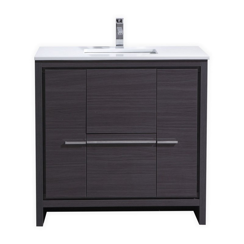 "Modern Lux 36"" Gray Oak Modern Bathroom Vanity with White Quartz Counter-Top"