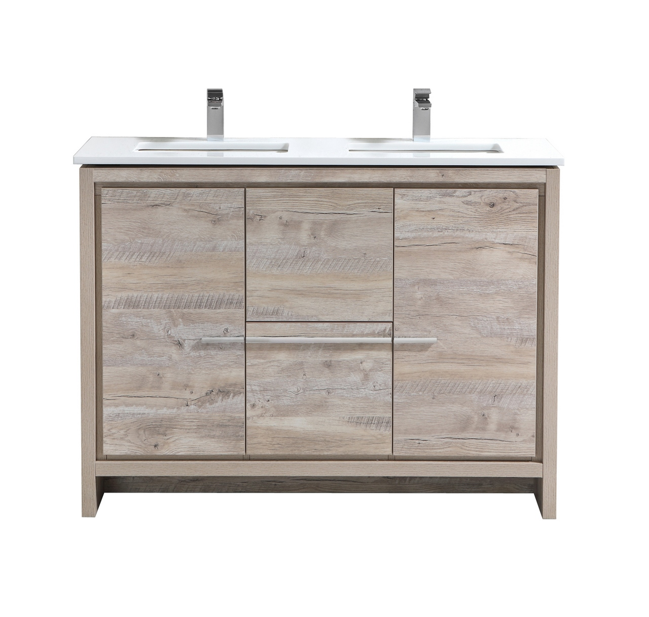 "Modern Lux 48"" Double Sink Nature Wood Modern Bathroom Vanity with White Quartz Counter-Top"