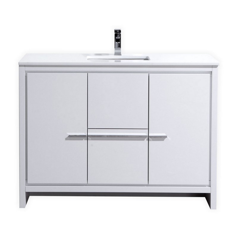 "Modern Lux 48"" High Gloss White Modern Bathroom Vanity with White Quartz Counter-Top"