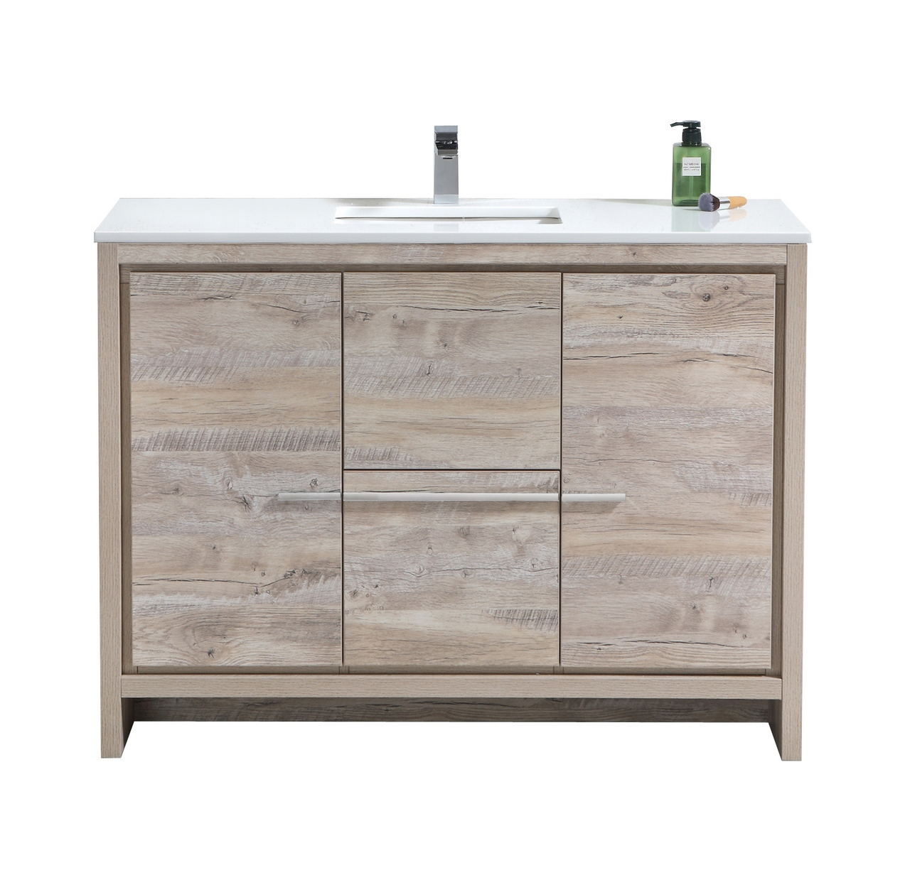 "Modern Lux 48"" Nature Wood Modern Bathroom Vanity with White Quartz Counter-Top"