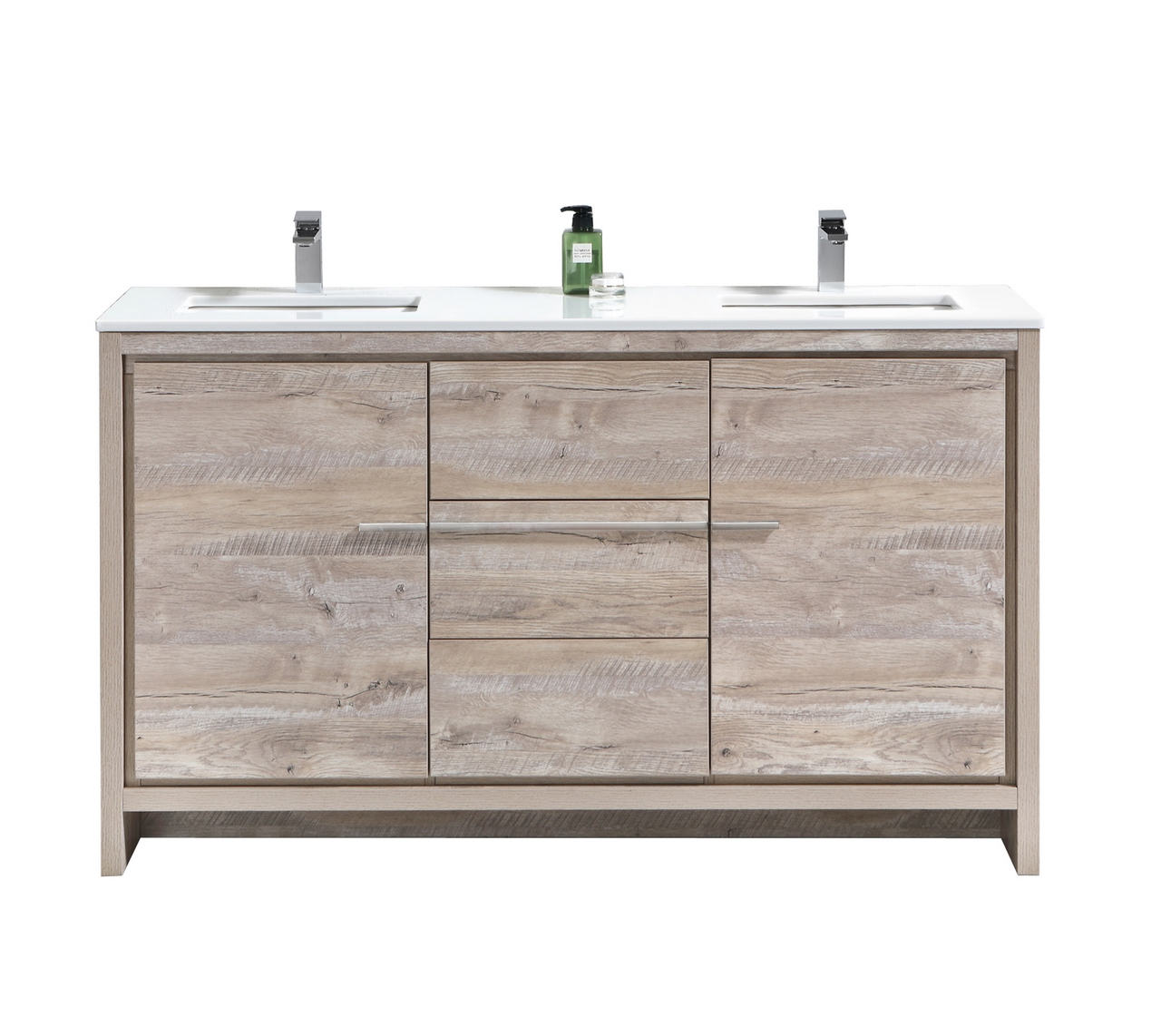 "Modern Lux 60"" Double Sink Nature Wood Modern Bathroom Vanity with White Quartz Counter-Top"