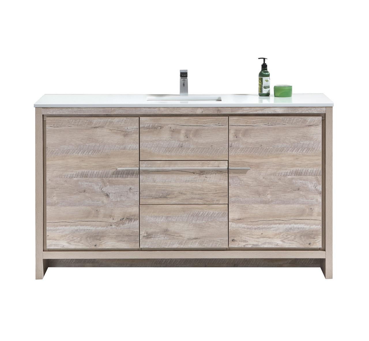 "Modern Lux 60"" Nature Wood Modern Bathroom Vanity with White Quartz Counter-Top"