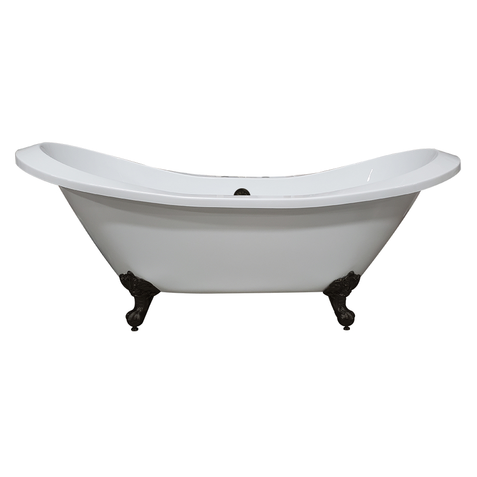 "Cambridge 73"" Extra Large Acrylic Double Slipper Clawfoot Tub, Brushed Nickel Feet and Deck Mount Faucet Holes"
