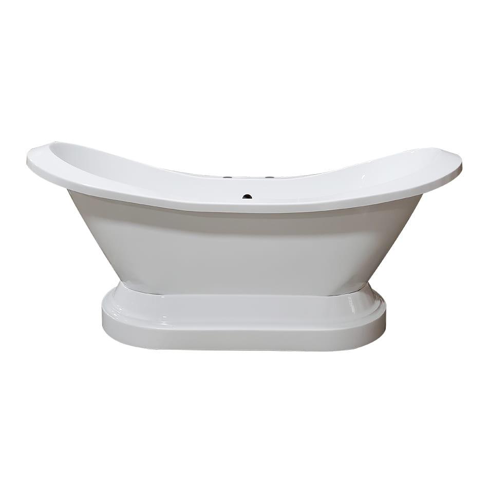 "Cambridge Extra Large 73"" Acrylic Double Slipper Pedestal Tub, Deck Mount Faucet Holes"