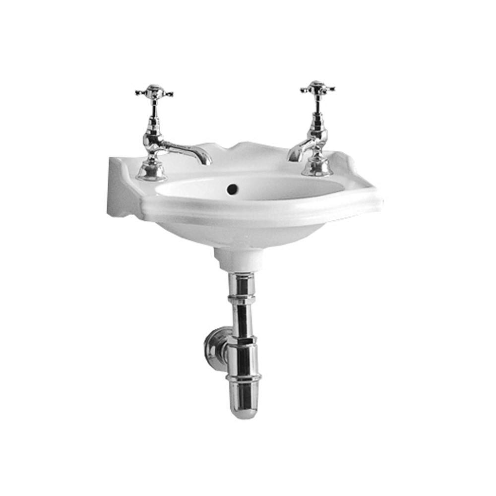 Isabella Collection Small Rectangular Wall Mount Basin with Integrated Oval Bowl, Backsplash, Decorative Trim, Overflow and Hole Faucet Drilling Options