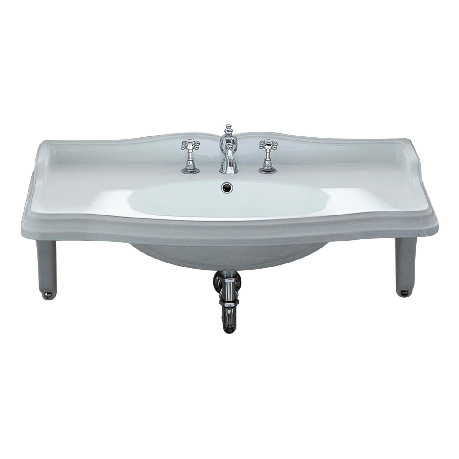 Isabella Collection Large Rectangular Wall Mount Basin with Integrated Oval Bowl, Widespread or Single Hole Faucet Drilling and Ceramic Shelf Supports