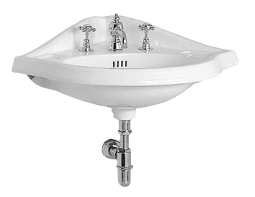 Isabella Collection Corner Wall Mount Basin with Widespread or Single Hole Faucet Drilling, Oval bowl, Backsplash, Dual Soap Ledges and Overflow