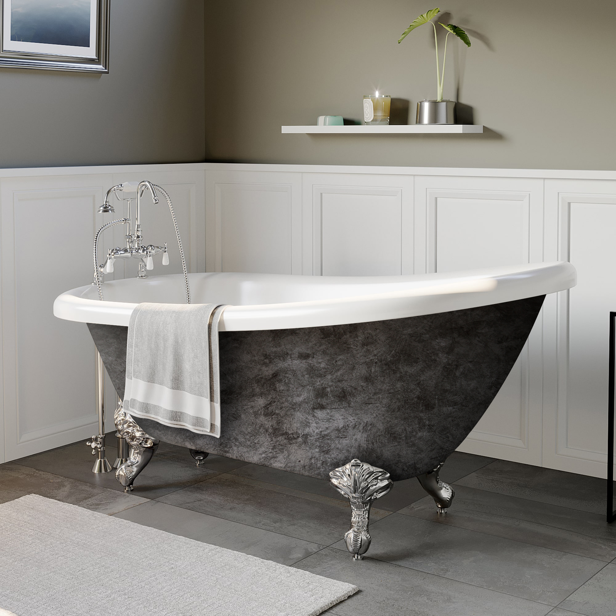 """Cambridge Scorched Platinum 61"""" x 28"""" Acrylic Slipper Bathtub with """"7"""" Deck Mount Faucet Holes and Polished Chrome Ball and Claw Feet"""