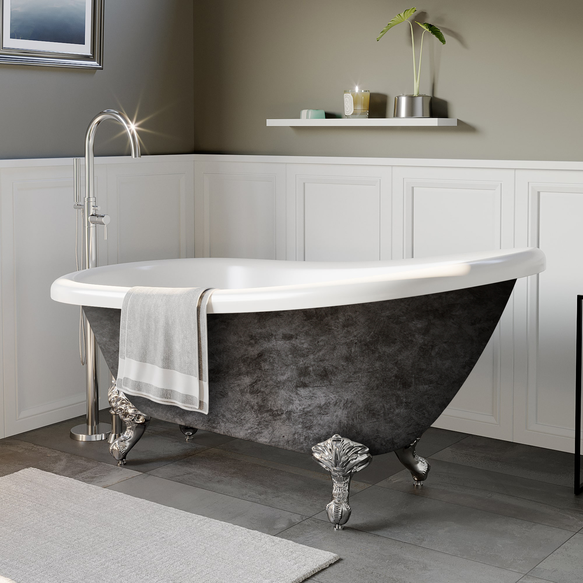 "Cambridge Scorched Platinum 61"" x 28"" Acrylic Slipper Bathtub with No Faucet Holes and Polished Chrome Ball and Claw Feet"