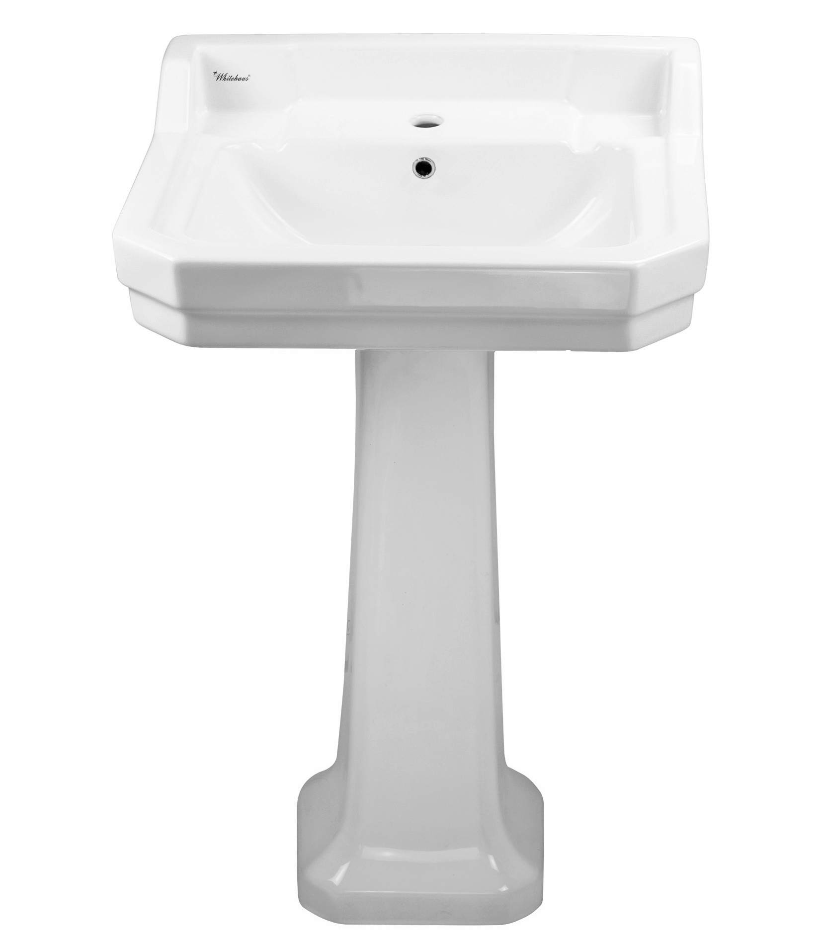 Isabella Collection Traditional Pedestal with Integrated Rectangular Bowl, Backsplash, Dual Soap Ledges, Decorative Trim and Overflow