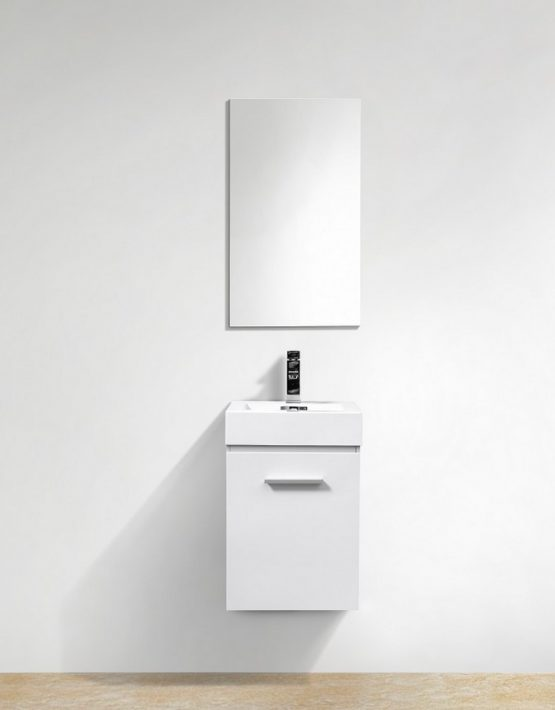 "Kubebath Bliss 16"" High Gloss White Wall Mount Modern Bathroom Vanity"