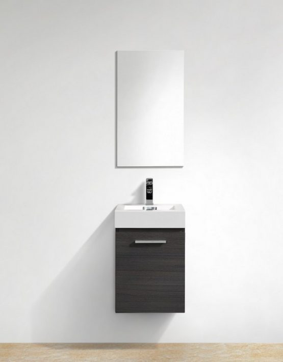 "Modern Lux 16"" High Gloss Gray Oak Wall Mount Modern Bathroom Vanity"