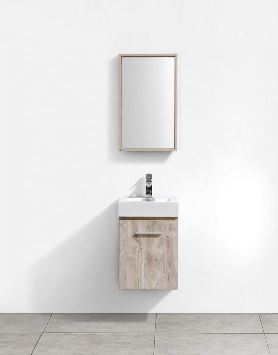 "Modern Lux 16"" Nature Wood Wall Mount Modern Bathroom Vanity"