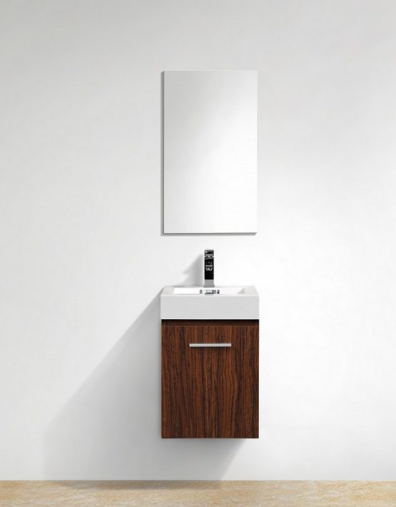 "Kubebath Bliss 16"" Walnut Wall Mount Modern Bathroom Vanity"