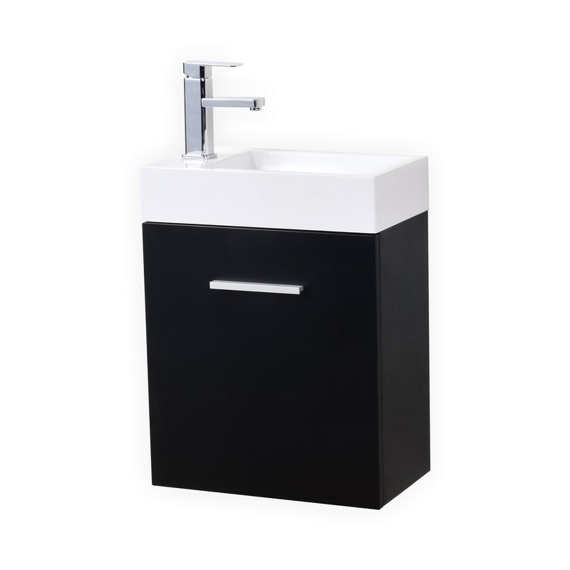 "Modern Lux 18"" Black Wall Mount Modern Bathroom Vanity"