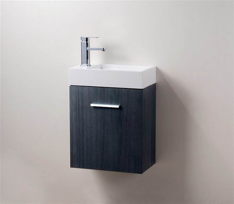 "Modern Lux 18"" High Gloss Gray Oak Wall Mount Modern Bathroom Vanity"