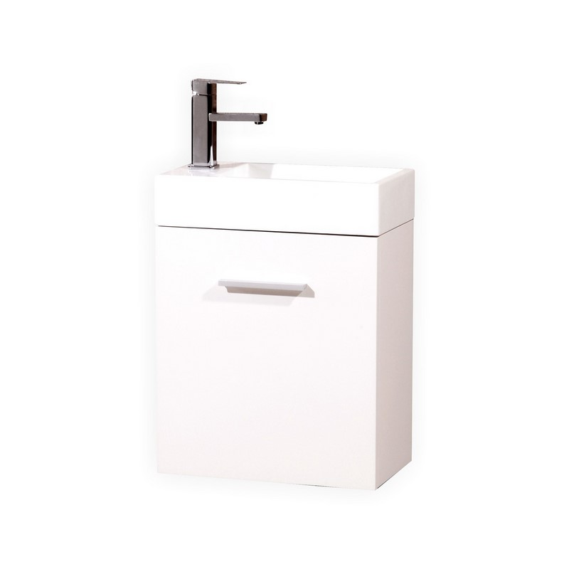 "Kubebath Bliss 18"" High Gloss White Wall Mount Modern Bathroom Vanity"