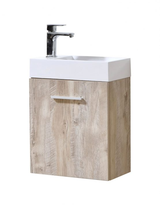 "Modern Lux 18"" Nature Wood Wall Mount Modern Bathroom Vanity"