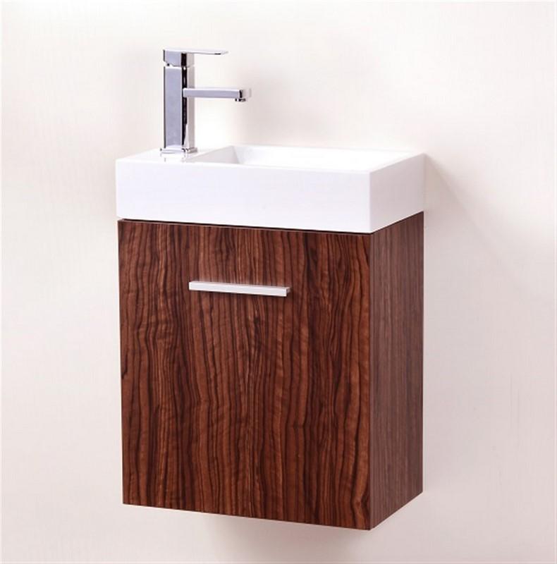 "Modern Lux 18"" Walnut Wall Mount Modern Bathroom Vanity"