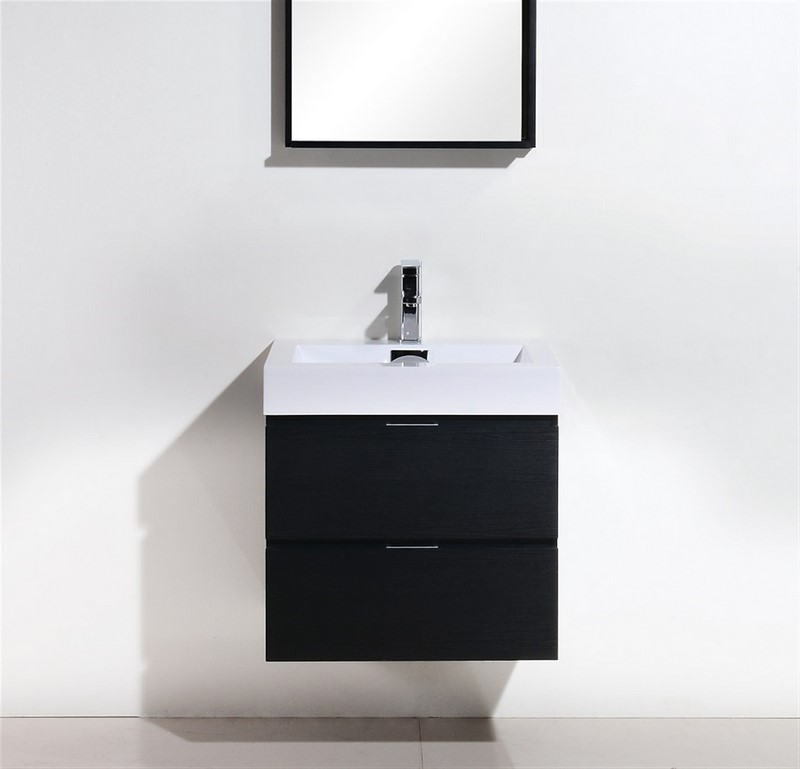 "Kubebath Bliss 24"" Black Wall Mount Modern Bathroom Vanity"