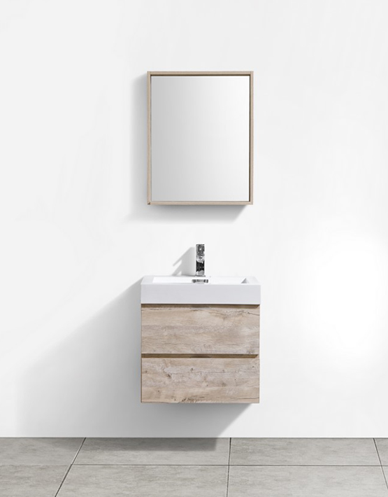 "Kubebath Bliss 24"" Nature Wood Wall Mount Modern Bathroom Vanity"